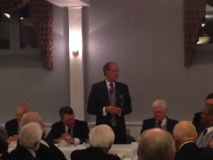 The Senior Grand Warden Thomas A. Rorrie thanking all of the Brethren in attendance for coming to support him.