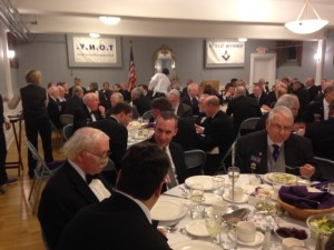 Celestial Lodge Brothers enjoying the dinner at Thomas A. Rorrie's reception as the Senior Grand Warden.