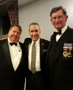Celestial Lodge Brothers enjoying the Senior Grand Warden reception. Left to right, Robert Menyhert (Junior Deacon), Matthew Liptak (member) and Bruce Marshall (Secretary)